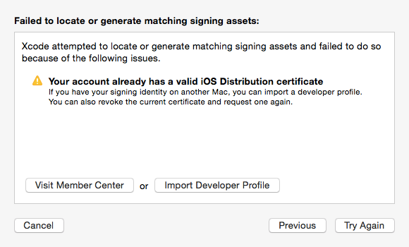 エラー:Your account already has a valid iOS Distribution certificate